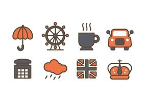 Icônes de conception liées à Londres vecteur