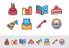 Icônes gratuites d'autocollant d'anniversaire vecteur