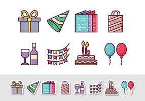 Icônes gratuites d'autocollant d'anniversaire