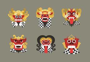 Masque de barong culturel balinais indonésien vecteur
