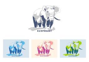 Éléphant au popart portrait vecteur