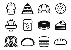 Vector d'icônes de boulangerie et de gâteau gratuit