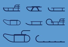 Icônes de traîneaux vecteur