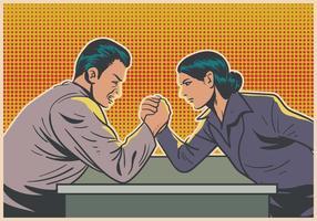 Hommes et femmes faisant du bras Wrestling