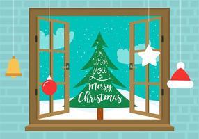 Fenêtre de Noël vectorielle gratuite