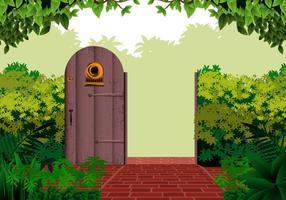 Porte ouverte jardin vecteur