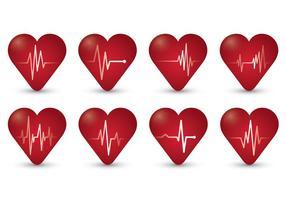Symbole plat des battements de coeur vecteur