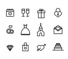 Ensemble d'icônes de mariage vecteur