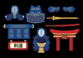 Ensemble de vecteurs d'équipement kendo vecteur