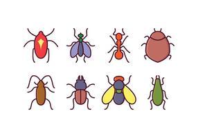 Icônes d'insectes libres vecteur