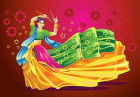 Dessin vectoriel de femme jouant à la danse Garba