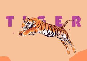 Tigre - popart portrait vecteur