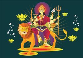 Image vectorielle de Goddess Durga in Subho Bijoya