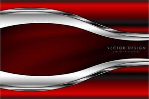 conception de cadre rouge et argent incurvé métallique