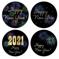 Graphiques de cercle de bonne année 2021 avec feux d'artifice vecteur