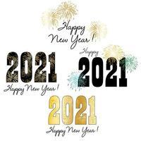 Typographie et graphiques du nouvel an 2021 avec feux d'artifice vecteur