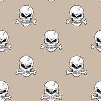 crâne avec os dans la bouche sur beige