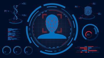 système de détection de visage sur écran hud vecteur