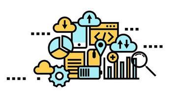 cloud computing, concept d'icône plate de stockage de données vecteur