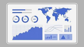 écran virtuel montrant le graphique des statistiques d'analyse de données vecteur