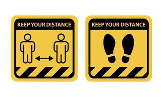 ensemble de panneaux d'avertissement de distance sociale