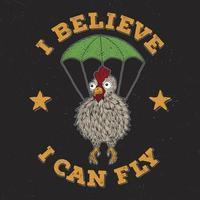 poulet avec conception de t-shirt parachute
