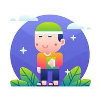 dessin animé mignon enfant musulman tenant le coran