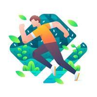 homme en cours d'exécution pose avec forêt et feuilles qui tombent