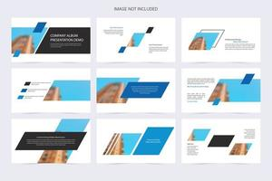 démo de présentation de la forme coudée blanche et bleue de l'entreprise