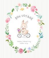 lapin bon voyage dans un cadre de cercle de fleurs