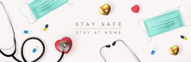 Restez en sécurité signe de bannière avec masque médical et stéthoscope