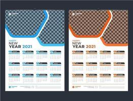 modèle de calendrier mural 2021 d'une page bleu et orange vecteur