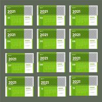 modèle de calendrier 2021 vert moderne vecteur