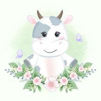 bébé vache et papillons avec des fleurs