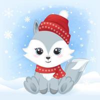 bébé renard avec écharpe et chapeau dans la neige