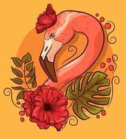 tête de flamant rose avec des coquelicots et des feuilles de monstera