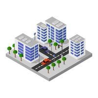 conception de la ville de bâtiments isométriques