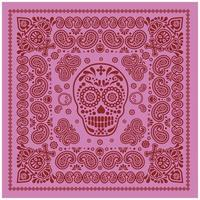 motif bandana rose et rouge avec crâne et cachemire