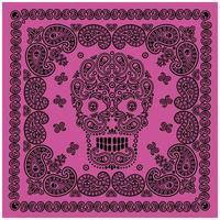 motif bandana violet et noir avec crâne et cachemire