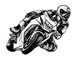 dessin du pilote de moto isolé dessiné à la main vecteur