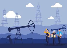les travailleurs de l & # 39; équipe extrayant du pétrole