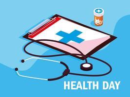 carte de la journée mondiale de la santé avec presse-papiers