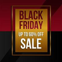vente vendredi noir bannière promo or, rouge et noir
