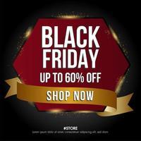 hexagone de bannière de vente vendredi noir et modèle de bannière