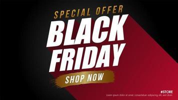 bannière de vente vendredi noir rouge, noir et or
