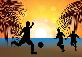 Silhouette de coucher de soleil de football de plage vecteur