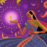 femmes célébrant diwali avec fond abstrait