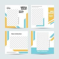 ensemble de publications de médias sociaux de vente abstraite vecteur