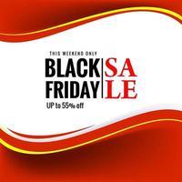 belle bannière de courbe rouge vendredi noir vecteur