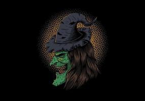 Profil de côté de la sorcière au chapeau vecteur
